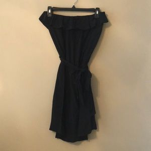 Black Strapless Wrap Dress